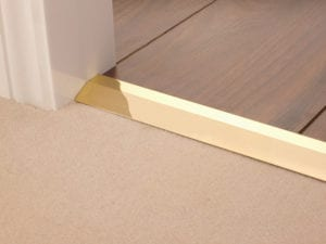 Premier Carpet Ramp, sloped transition strip for joining carpet at different levels, polished brass