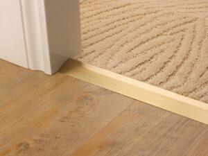 Carpet ramp joins different levels of flooring, carpet to tiles,satin brass