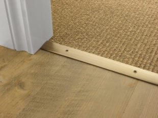 Premier Cover door plate with matching screws, connecting laminate to sisal flooring, antique brass