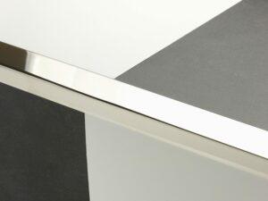Premier Large Lips flooring trim, step edging, Polished Nickel