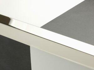 Premier Square Lips flooring trim, step edging, Polished Nickel
