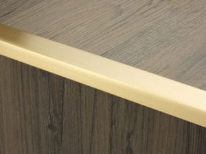 Premier large Lips flooring trim, step edging, Satin Brass