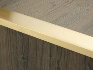 Premier Wide Lips flooring trim, step edging, Satin Brass