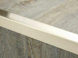Premier Square Lips flooring trim, step edging, Square step edging satin nickel