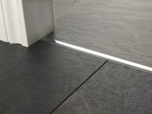 Premier T bar bar, 14mm wide, connecting strip between tiled floors, quality brushed chrome