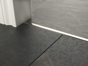 Premier T bar bar, 14mm wide, connecting strip between tiled floors, quality polished nickel
