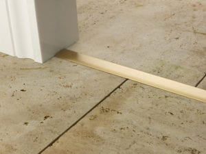 Premier T bar bar, 25mm wide, connecting strip between tiled floors, quality satin brass