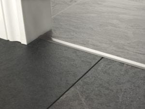 Premier T bar bar, 14mm wide, connecting strip between tiled floors, quality satin nickel
