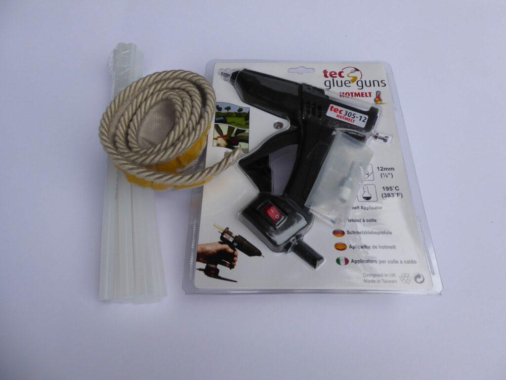 Easybind glue gun with glue sticks & sample Easybind strips