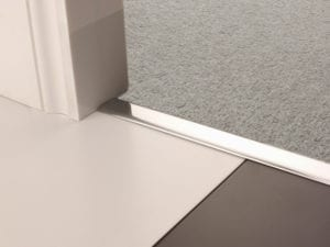 Premier Z door bar, neatly joining carpet to tiles, quality brushed chrome