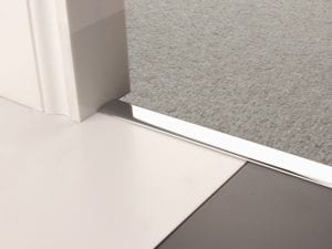 Premier Z door bar, neatly joining carpet to tiles, quality chrome finish