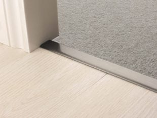 Premier Z door bar, neatly joining carpet to tiles, quality pewter finish