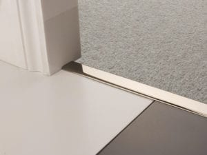 Premier Z door bar, neatly joining carpet to tiles, quality polished nickel