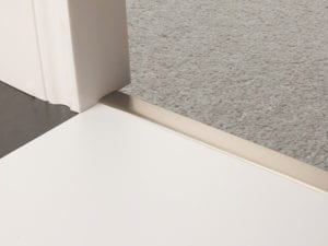 Premier Z door bar, neatly joining carpet to tiles, quality satin nickel