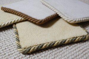 Easybind rug binding samples in various colours