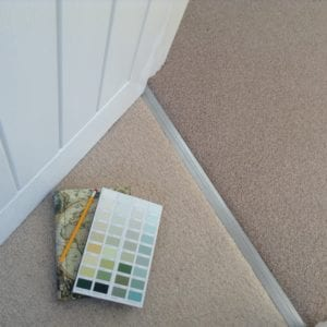 Posh Cover plate in chrome fixed in doorway between two beige carpets