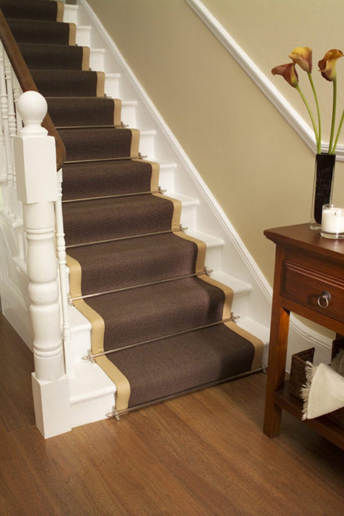 Premier stair rods satin nickel fitted on bordered runner