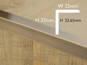 Premier Square Lip metal edging for a step, antique brass