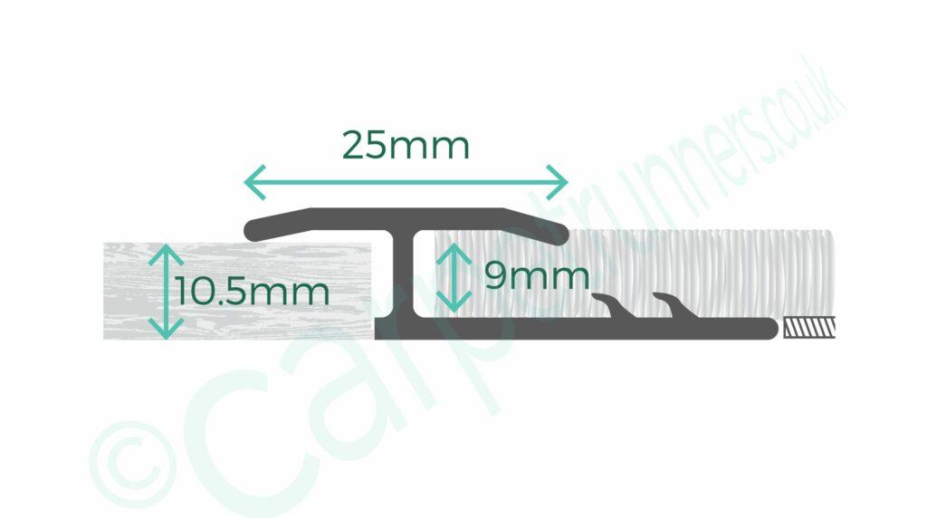 AL10 door threshold product diagram showing dimensions