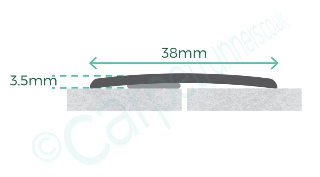 AL AC38SF floor trim diagram with product dimensions