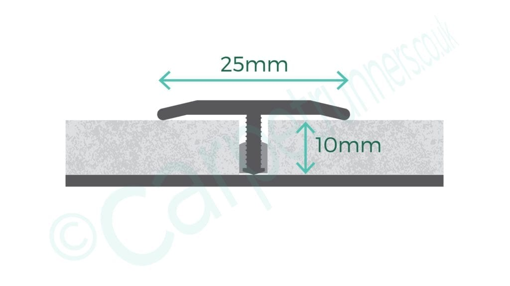 T Bar floor trim diagram with product dimensions