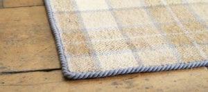 carpet edging - Easybind tartan rug trimmed in Grey Dunn