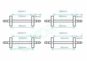 Diagram of Homepride carpet rod stock lengths to buy