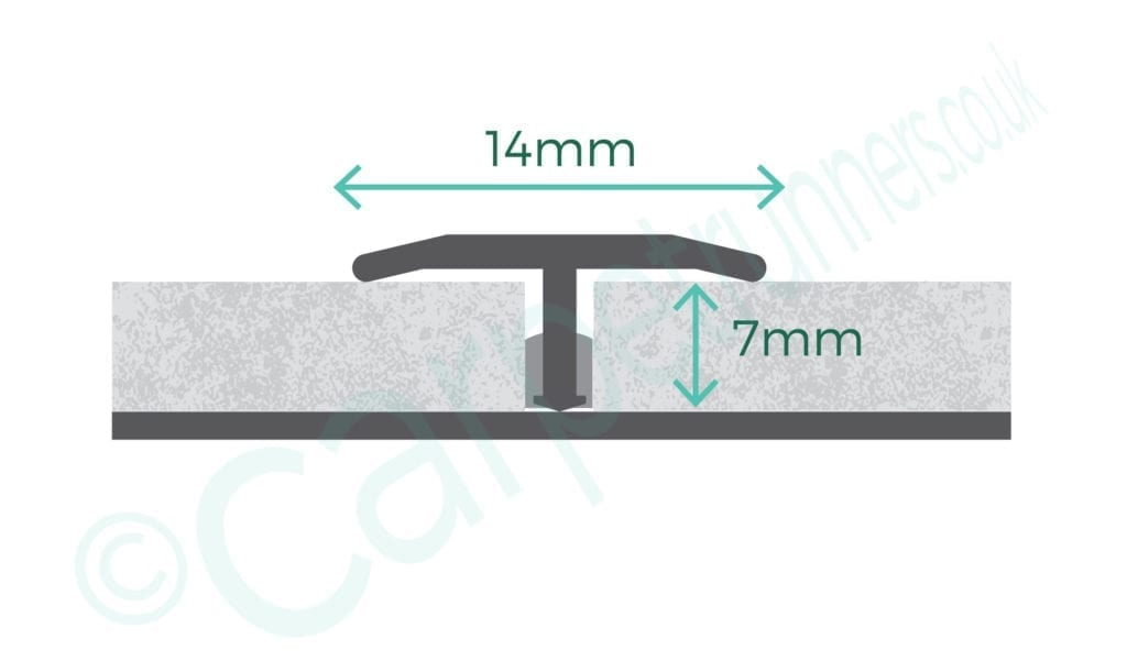 Little T floor trim joins hard flooring - product diagram with dimensions