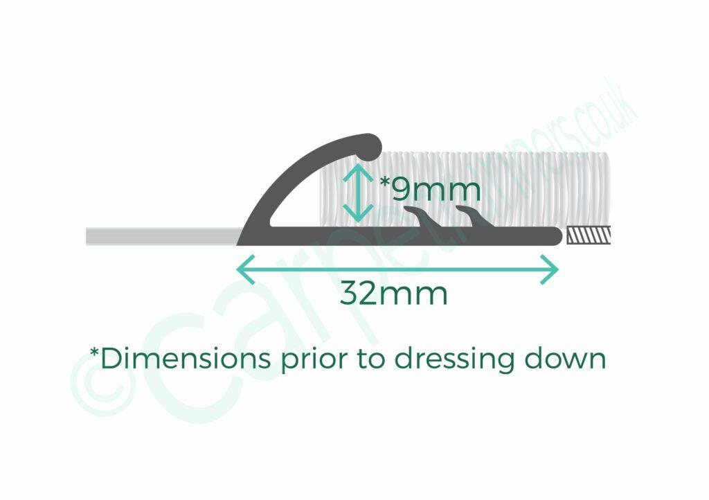 Door threshold bars - Premier Single 9 joins carpet to vinyl or floorboards - product diagram