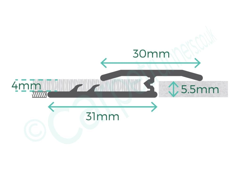 Diagram of Premier Double Z4 door bar for joining sisal, flatweaves or carpet tiles