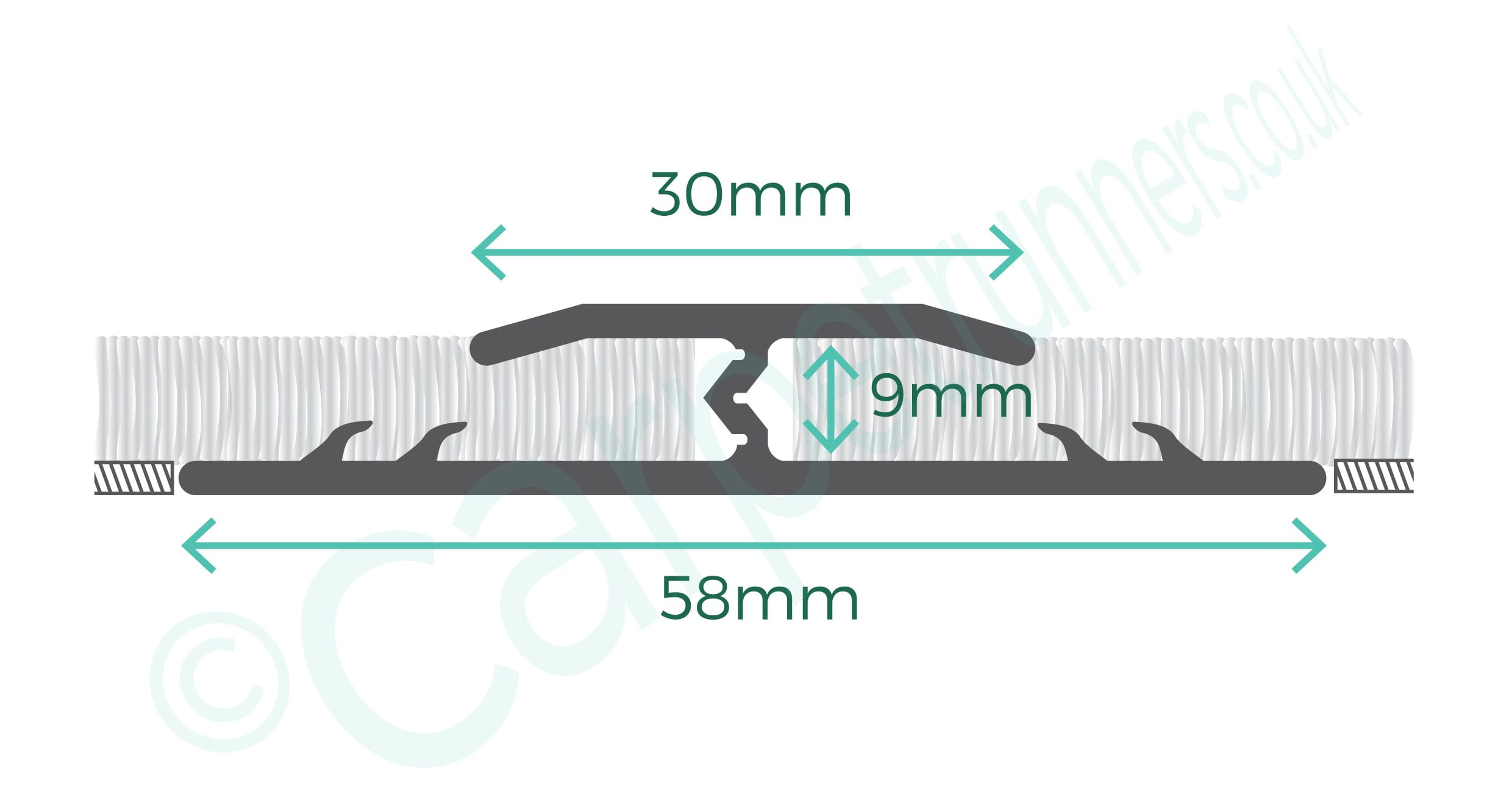 Premier Double Z9 door threshold joins carpets - product diagram