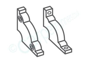 Selection of stair rod brackets for fitted carpets