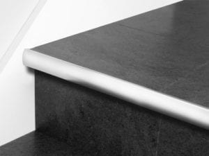 Stair nosing strip in brushed chrome with rounded profile