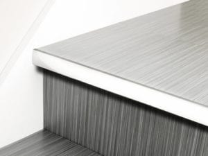 LVT Stair Nosing Full Bull stair-front strip in chrome with rounded profile