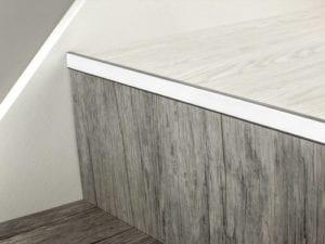 LVT Nosing No Bull fitted on vinyl covered step in chrome