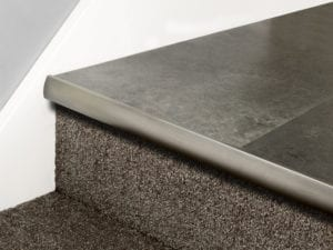 LVT Stair Nosing Full Bull stair front strip in pewter with rounded profile