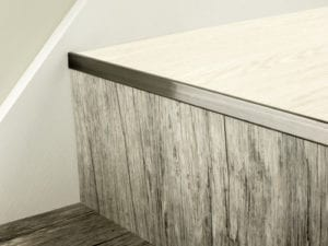 LVT Nosing No Bull fitted on vinyl covered step in pewter