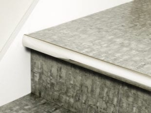 Stair nosing strip in polished nickel with rounded profile