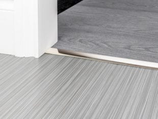 Polished nickel door thresholds for joining carpet and hard flooring