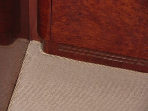 Easybind carpet edging finishes a fitted carpet on a yacht