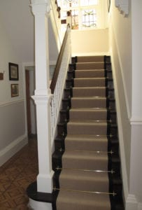 Town house staircase fitted with Hanover solid brass STAIR CARPET RODS
