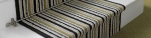 Stair rods for runners, Piston design, fitted to green striped stair runner
