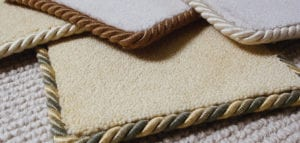 Carpet samples edged with Easybind carpet binding in various colours