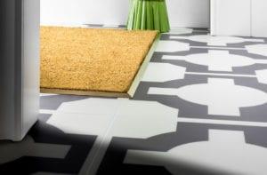 Premier matwell edging in satin brass for indoor door mat