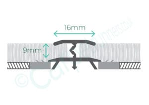 Diagram of 16mm wide flooring trim to join 2 carpets
