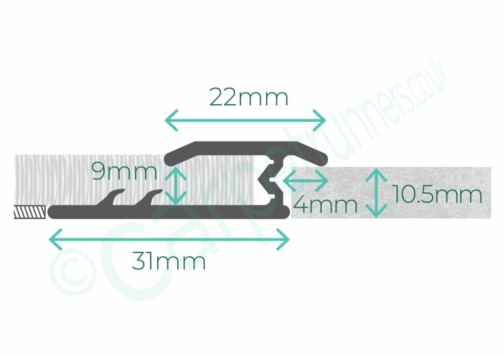narrow Z Bar for joining floocovering