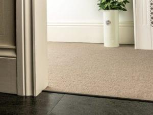 Premier Slim z bar joining a beige carpet to wood tiles, slim, black