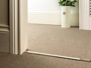 Premier Slim D door bar for joining carpets in polished nickel extra narrow