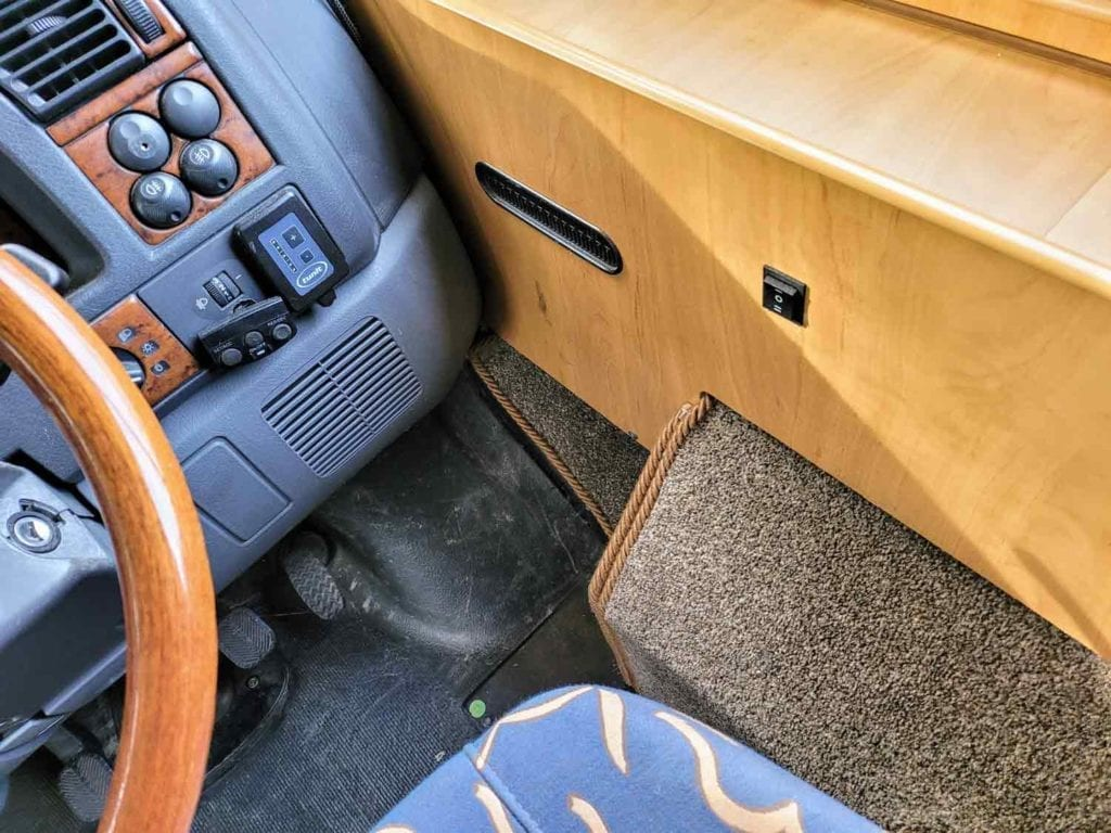 Rope carpet binding fitted in motorhome cab