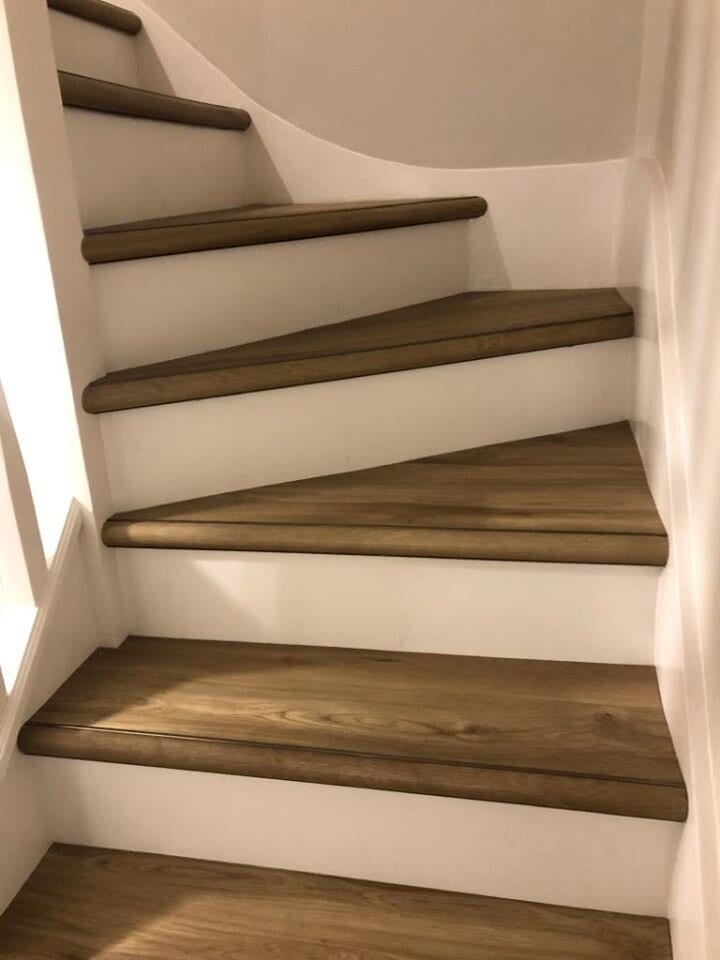 nosing stairs with the Ali Wrap Nose in antique brass for LVT